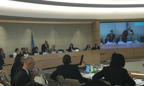 السيد الممثل الدائم يقدم التقرير النهائي للدورة 36 لمجلس حقوق الانسان