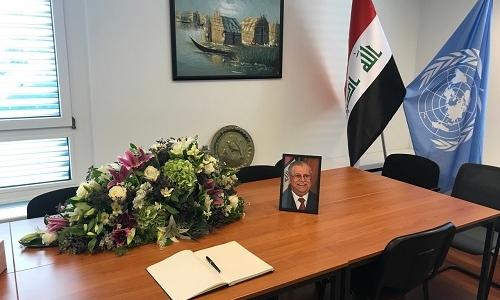 الممثلية الدائمة لجمهورية العراق في جنيف تفتح سجل تقديم التعازي بوفاة رئيس الجمهورية السابق السيد جلال الطالباني