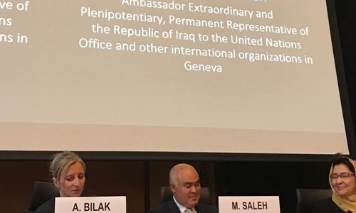 الممثل الدائم يقدم عرضاً شاملاً حول النازحين في ندوة مركز الرصد للنزوح الداخلي IDMC في مقر الأمم المتحدة في جنيف